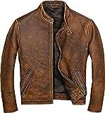 Mens Real Leather Biker Vintage Cafe Racer Motorcycle Distressed Brown Genuine Leather Jacket (L)