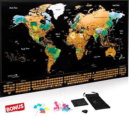 Carte du monde à gratter XXL Escapades, Edition Premium avec les drapeaux...