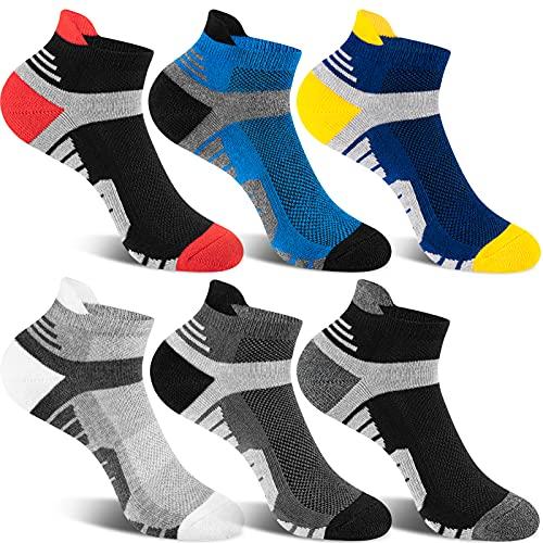Novagear Calzini Uomo Donna Corti, 6 Paia calze Traspirante Trekking Running Cotone, Calze Antiscivolo Ciclismo Sportive Lavoro Unisex