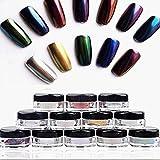 Nail Art Accessories, Babyee 12 Colors Nail Glitter Powder Shinning Nail Mirror Powder Makeup Art DIY Chrome Pigment With Sponge Stick.