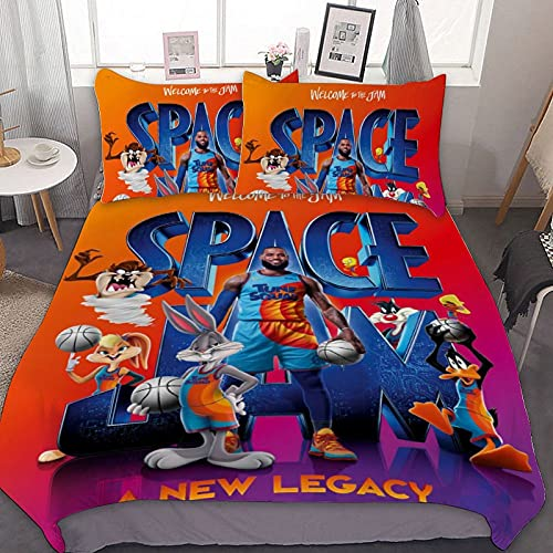 KingHtao Space jam 2 a New Legacy 3 Pieces Full Size Microfiber Sheet Set Bedding Set one Duvet Cover Two Pillow Shams 79