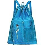LIVACASA Mesh Backpack Swimming Drawstring Bag Backpack with Mesh Pocket Quick Drying Mesh Swim Equipment Beach Bag Blue