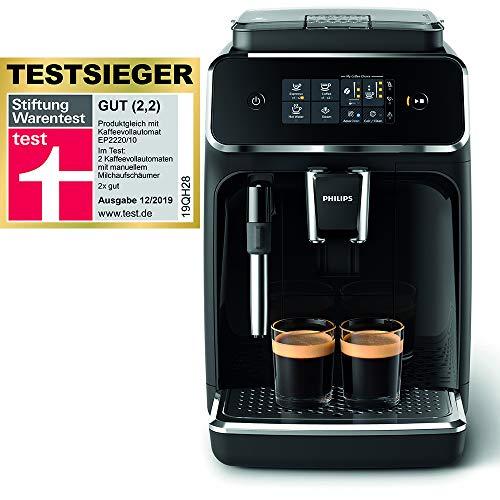 Philips 2200 Serie EP2221/40 Kaffeevollautomat, 2 Kaffeespezialitäten, Schwarz/Klavierlack-schwarz