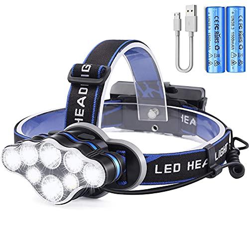 lampada frontale da Testa Ricaricabile,2400mAh Torcia LED Frontale,Faro USB Super Luminosa con 8 modalit,Torcia da Testa per Campeggio/Escursionismo,Mountain Bike,Pesca,Cantina,Corsa