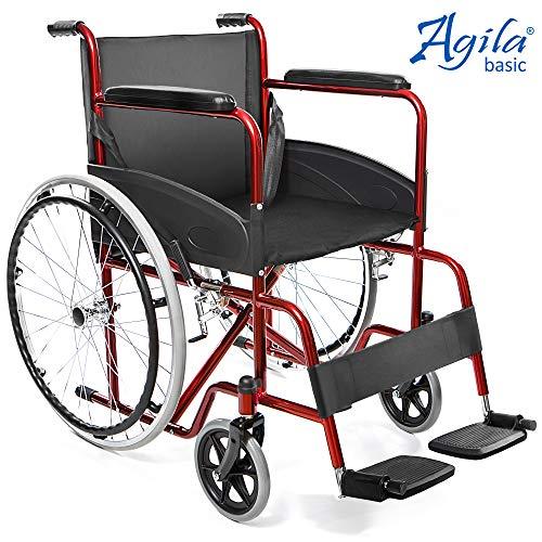 AIESI Sedia a Rotelle pieghevole leggera ad autospinta per disabili ed anziani AGILA BASIC #...