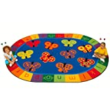 Carpets for Kids 3506 Literacy 123 ABC Butterfly Fun Kids Rug Size: Oval 6'9' x 9'5', Blue