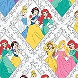 Tessuto per cameretta dei bambini, motivo: principesse Disney Ariel Aurora Belle, venduto al metro, mezzo metro e scampolo, Metre