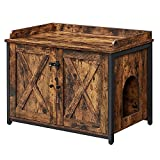 VASAGLE Cat Litter Box Furniture, Hidden Litter Box Enclosure, Cat House with 2 Barn Doors, End Table, Rustic Brown and Black UPCL621B01