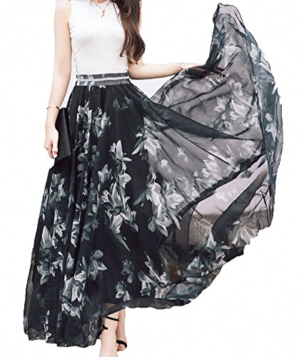 Afibi Women Full/Ankle Length Blending Maxi Chiffon Long Skirt Beach Skirt (XXX-Large, Design A)