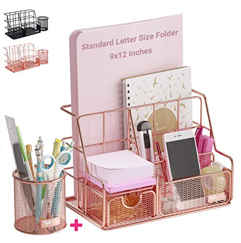 Orgowise Mesh Desk Organizers and Accessories Set. Rose Gold Desktop...