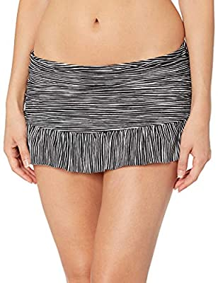 DESIGNER SUMMER SWIMWEAR — Get ready for summertime fun with this ruffle skirt swim pant by La Blanca. This bottom gives the style benefit of a cute skirt, with the coverage of a hipster pant underneath. A rouched body and full rear coverage will pro...