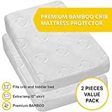 2-Pack Ultra Soft Crib Mattress Protector by Dellabella   100% Hypoallergenic Bamboo. Stylish and a Perfect Fit for Cribs & Toddler Beds. Soft, Breathable, Quiet, Waterproof Crib Mattress Cover…