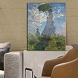 Mujer con sombrilla Pinturas de arte en lienzo de Claude Monet Impresionista...