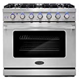Cosmo COS-EPGR366 36 in. Slide-In Freestanding Gas Range with 6 Italian Burners, Cast Iron Grates...