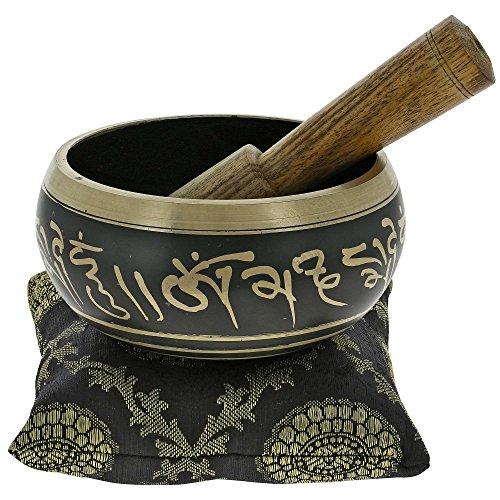 Buddhist Singing Bowl Meditation Tibetan Golden and Black Art Decor 4 Inch
