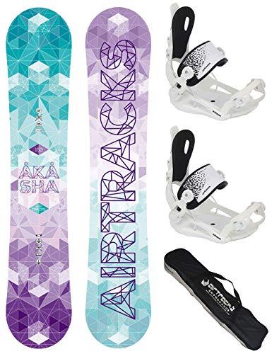 AIRTRACKS Snowboard Set - Planche Akasha Lady 144 - Fixations Master FASTEC W M - SB Sac/Neuf