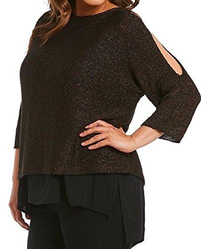 519AE7koLPL. SL500 73% organic linen, 23% nylon Cold shoulder Three-quarter sleeves