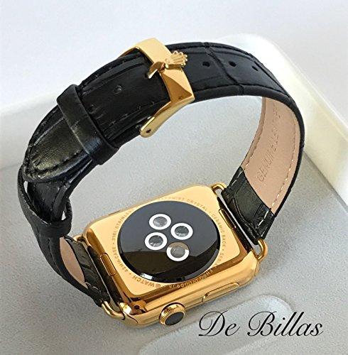 24Kゴールド 42mm Apple Watch Series 2 ブラックアリゲーターグレインバンド ROLEXバックル
