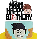 Glorymoment Cake Decorations for Roblox Cake Topper Birthday Party Supplies, Glitter Happy Birthday Cake Topper for Robolx Themed Video Game Cake Decoration, Kids Boys Birthday Party (6.7'' x 4.96'')