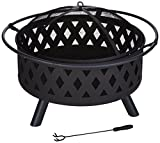 Fire Pit Set, Wood Burning Pit - Includes Screen, Cover and Log Poker - Great for Outdoor and Patio, 32 inch Round Crossweave Firepit by Pure Garden