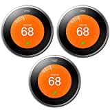 Google Nest Learning Thermostat 3 Pack (T3007ES) 3rd Gen Stainless Steel