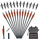 yooker 20 22 Inch Crossbow Bolts and Crossbow Broadheads Set Carbon Crossbow Arrows for Hunting and Outdoor Practice, 12pcs Orange Arrows 12pcs Broadheads(24 Pack)