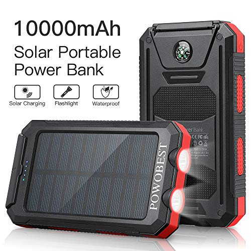 Solar Charger 10000mAh, POWOBEST Waterproof Solar Phone Charger Power Bank with Dual USB, External Backup Battery Pack for Smartphones, Portable Solar Panels with Flashlight & Compass