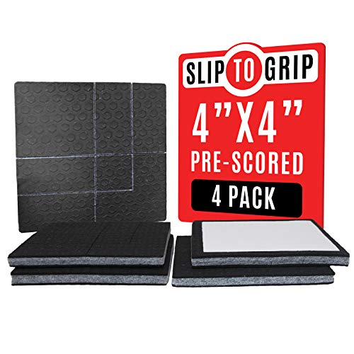 SlipToGrip Furniture Gripper, Stops Sliding Multi Size (4 Pads) - Make 4', 1', 2', etc.- Pre-Scored Multiple Sizes - 3/8' Felt Core - Anti Slip- No Nails,No Glue. Surface Grip Pads