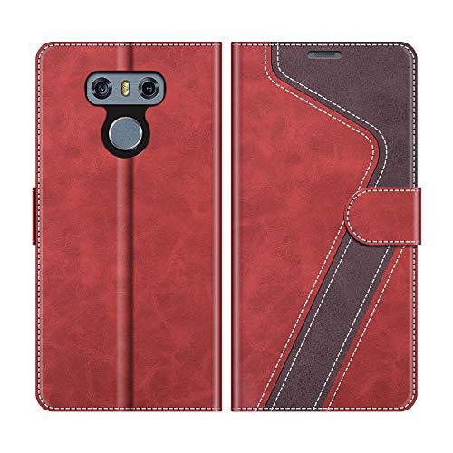 MOBESV Custodia LG G6, Cover a Libro LG G6, Custodia in Pelle LG G6 Magnetica Cover per LG G6, Elegante Rosso