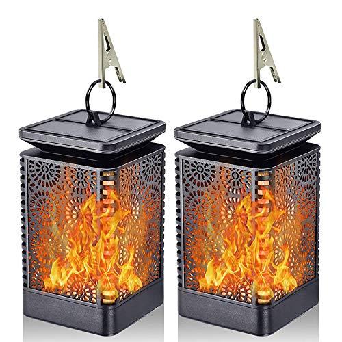 Solar Lantern Lights Dancing Flame Waterproof Outdoor Hanging...