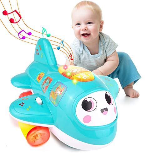 HISTOYE Baby Toys Airplane for 1 2 + Year Old, Musical Toy for Toddlers with Lights, Electronic Moving Aeroplane, Baby Development Toys Plane for 12 18 Month Old Gift to Encourage Crawling