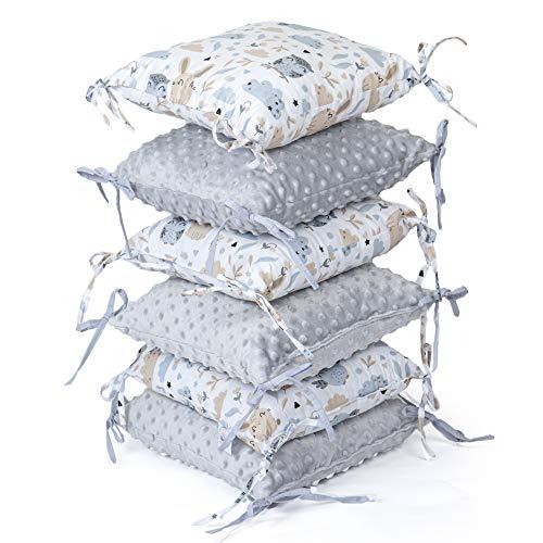 tour de lit bebe garçon - 6 Pièces Coussin de Protection 30 x 30 cm contour de lit bébé (gris, 6 oreillers 30x30 cm)