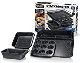 GRANITESTONE 6 Piece Baking Pan Set, 0.8MM Gauge, Durable Nonstick Surface, Oven Safe 550°F with No Warping, Dishwasher Safe, Cookie Tray, Roaster, Muffin Pan, Square Pan, Loaf Pan and Rack