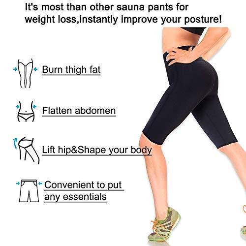 LODAY Neoprene Sauna Shorts with Pocket for Women Weight Loss Sweat Pants Workout Body Shaper Yoga Leggings (Black, XL) 6