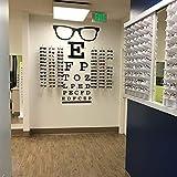 SLQUIET Gafas grandes Tabla optométrica Ventana óptica Etiqueta de la pared Eye Doctor Optometría Hipster Gafas Especificaciones Marcos Vidrio Calcomanía de pared Vinilo Chocolate 85cm X 46cm