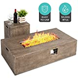 Best Choice Products 48x27in 50,000 BTU Patio Propane Fire Pit Table, Side Table Tank Storage w/Wood Finish, Pit Cover