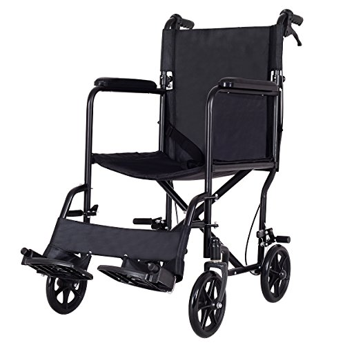 Giantex Lightweight Foldable Medical Wheelchair, Wide Seat, Transport with Hand Brakes