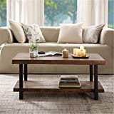 Rustic Nature Coffee Table, Aplos Large Retro Wood Slabs Coffee Table with Metal Legs and Storage Shelf for Living Room Bedroom Kitchen, Easy Assembly(Rectangle)