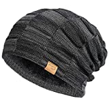 Vgogfly Slouchy Beanie for Men Winter Hats for Guys Cool Beanies Mens Lined Knit Warm Thick Skully Stocking Binie Hat Black