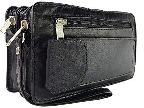 ekavale® elegante Dokumententasche Handgelenk-Herrentasche aus hochwertig verarbeitetem Leder mit praktische Trageschlaufe (Schwarz)