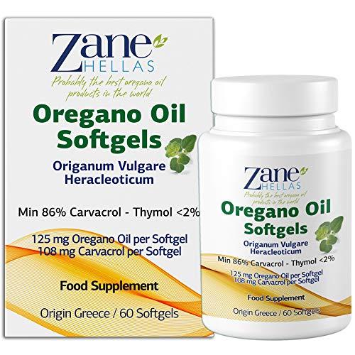 Zane Hellas Oregano Oil Softgels. La mayor concentración de