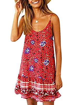 Material: RAYON ,Polyester.soft and lightweight fabric, skin-care women summer dress .Attention:this mini cami dress material is thin,suit for summer ! soft and comfortable! Feature:Crewneck, Sleeveless,Floral Print,2 side pockets ,backless,flowy ,Sp...