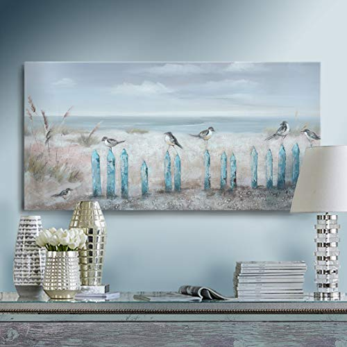 amatop Ocean Beach Wall Art 3D Framed Hand-Painted Seascape Oil...