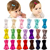 Baby Hair Clips Bows Fully Lined 2 Inch Tiny Barrettes for Baby Girls Toddler Infants and Kids 20pcs by Mery Yuer