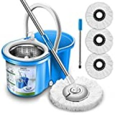 Aootek Upgraded Stainless Steel Deluxe 360 Spin Mop & Bucket Floor Mopping System Included EasyPress Handle with 3 Microfiber Mop Heads