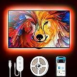 Govee Retroilluminazione 2m TV, Striscia LED RGB USB con App Control, Led Monitor 7 Modalità 16 Milioni Colori DIY per HDTV da 40-60 Pollici, 4 × 50cm, 5V, 2A