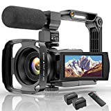 Videocamera 4K Wifi Videocamera Digitale Full HD YouTube Vlogging Registratore,IR Night 48MP 16X Zoom Digitale 3.0 Pollici Videoregistratore Touch Screen Ruotabile 270 ° con Telecomando per Microfono.
