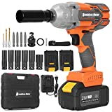 KUCCMO 21V CordlessImpactWrenchKit, Max Torque 442 Ft-lbs (600Nm), Impact Wrench 1/2 Cordless, 3200 RPM Power Impact Wrench, 4.0Ah Li-ion Battery, High Torque, Suitable for Car and Home Improvement
