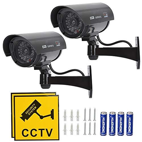 TIMESETL Videocamera Fittizia Videocamere Finte Telecamera di Sicurezza Fittizia CCTV con LED Rosso Lampeggiante Telecamera di Sicurezza Fasulla - Nera