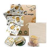 Emballage alimentaire réutilisable à la cire d'abeille écologique et biodégradable, bee's wraps zéro déchet, lot de 3 films : S, M, L + 1 sac en coton 100% bio réutilisable OFFERT